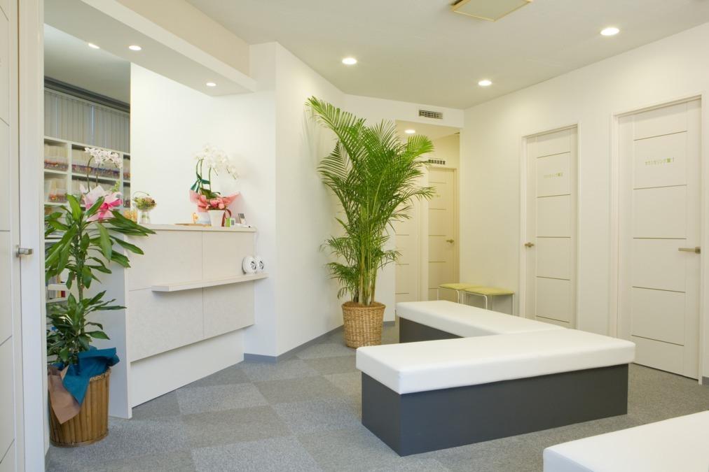 恵比寿メディカルクリニック(医療事務/受付の求人)の写真:白と緑が基調の待合室