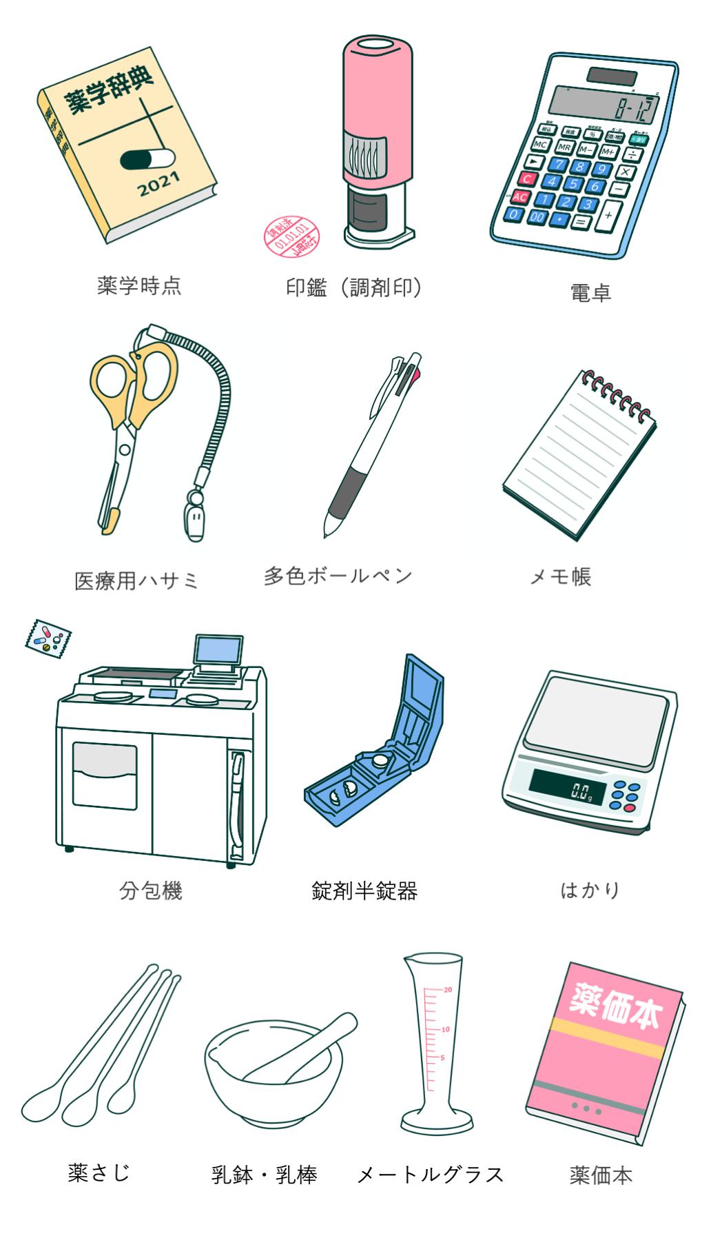 薬剤師の仕事道具