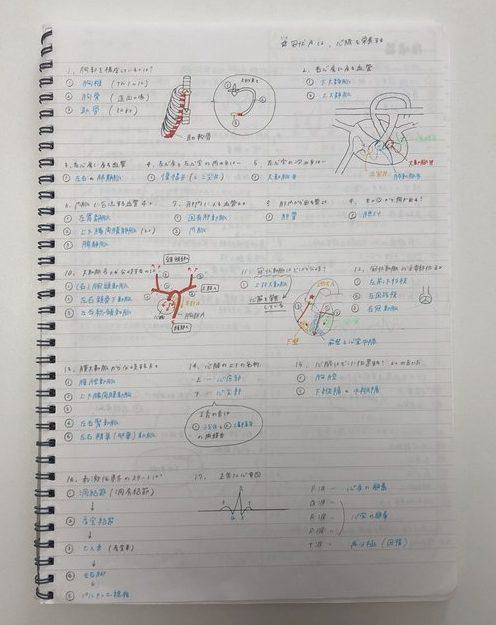 合格体験記_看護師_心臓を勉強したときのノート