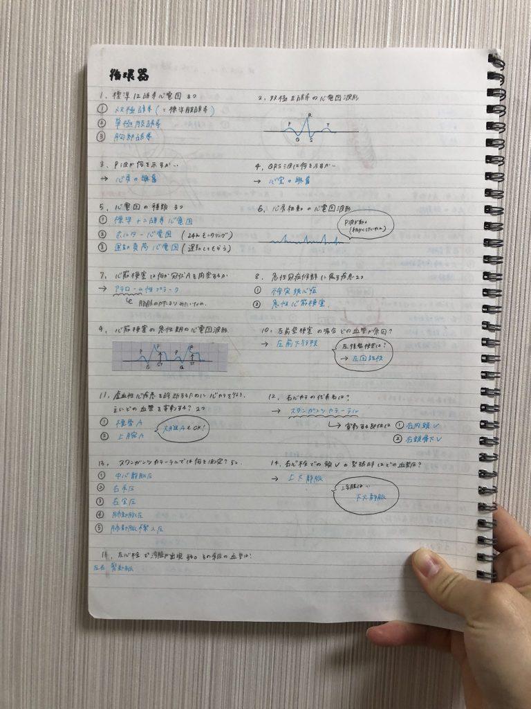 合格体験記_看護師_心電図を勉強したときのノート
